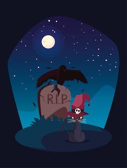 Chat noir avec chapeau de magicien dans une scène de cimetière