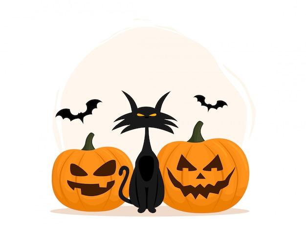 Chat noir et citrouille. joyeux halloween. illustration vectorielle isolée