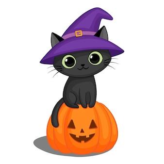 Chat noir dans un chapeau de sorcière sur une citrouille d'halloween