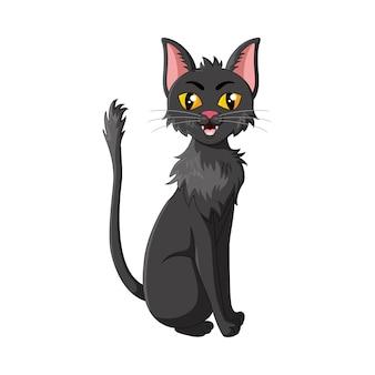 Chat noir de dessin animé isolé sur blanc