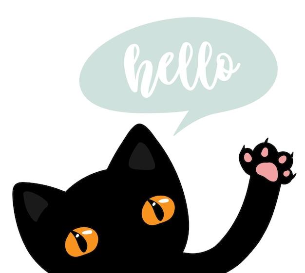 Chat noir dire bonjour, illustration vectorielle mignon eps 10 pour les enfants