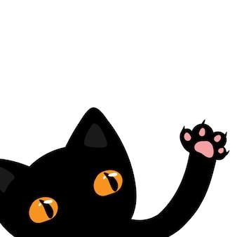 Chat noir dit bonjour, illustration vectorielle mignonne pour les enfants