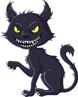 Chat noir effrayant de dessin animé isolé sur fond blanc