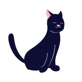 Chat noir endormi semi plat couleur rvb illustration vectorielle. chaton mignon, adorable animal domestique isolé personnage de dessin animé sur fond blanc. minou de couleur foncée, symbole de malchance, signe de malheur