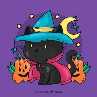 Chat noir halloween dessiné main mignon