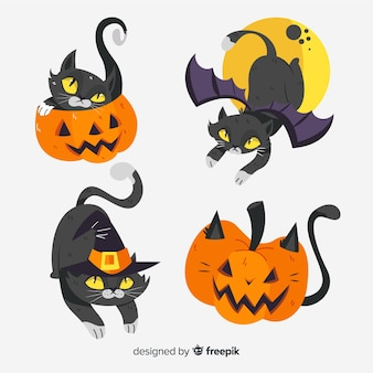 Chat noir halloween dessiné main mignon