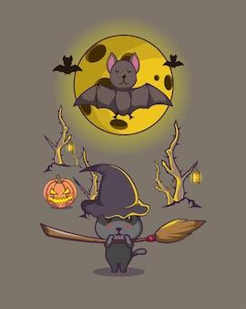 Chat noir halloween forêt sombre, chauve-souris, lune jaune, manche à balai pour affiche, logo, mascotte