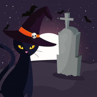 Chat noir avec lune dans une scène de cimetière