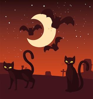 Chat noir avec lune en scène d'halloween