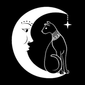 Chat noir sur la lune.