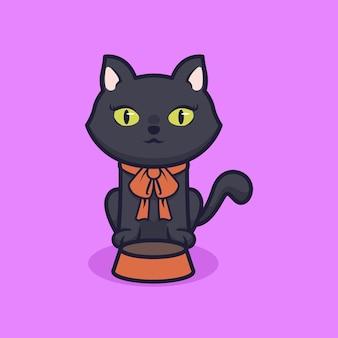 Chat noir mignon attendant la conception d'illustration de nourriture