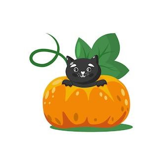 Chat noir mignon d'halloween à l'intérieur de la grande citrouille caractère animal adorable