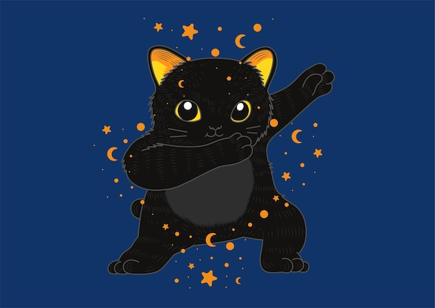 Chat noir mignon tamponnant halloween