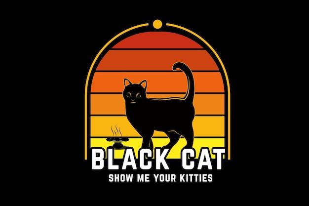 Chat noir montre moi tes chatons couleur orange et jaune