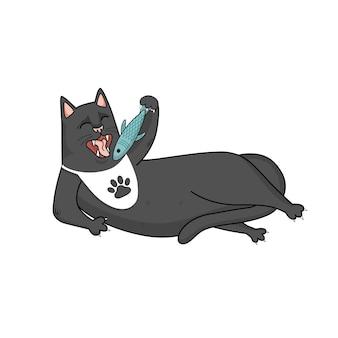 Le chat noir de vecteur de dessin animé mange le poisson, la gourmandise.
