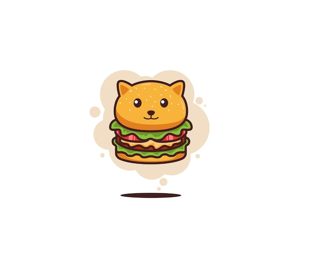 Chat nourriture burger doodle art illustration