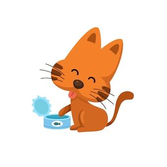 Chat avec de la nourriture peut