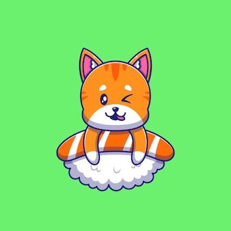 Chat orange mignon faisant un clin d'œil au-dessus de l'illustration de sushi. chat mascotte personnages de dessins animés animaux icône concept isolé.