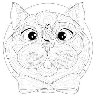 Chat avec un papillon sur le nez.livre de coloriage antistress pour enfants et adultes. illustration isolée sur fond blanc. style zen-tangle. dessin en noir et blanc