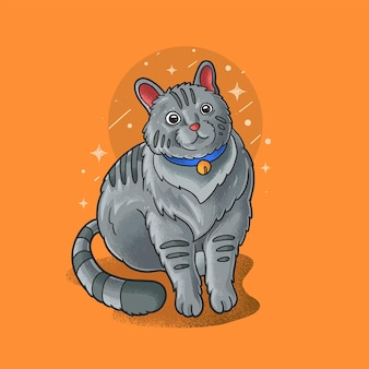 Chat paresseux assis illustration grunge