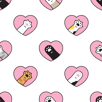 Chat patte transparente motif coeur saint-valentin chaton calico cartoon