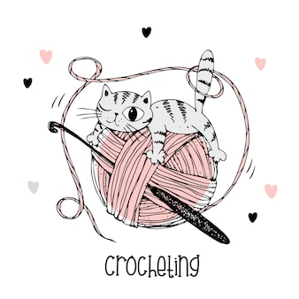 Un chat sur une pelote de laine. logo au crochet. vecteur