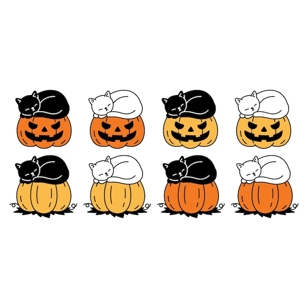 Chat personnage cartoon chaton citrouille halloween dormir