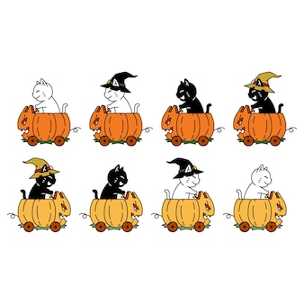 Chat personnage dessin animé chaton citrouille halloween