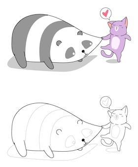 Le chat pince la page de coloriage de dessin animé de joues de panda