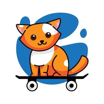 Chat le plus mignon sur la planche à roulettes