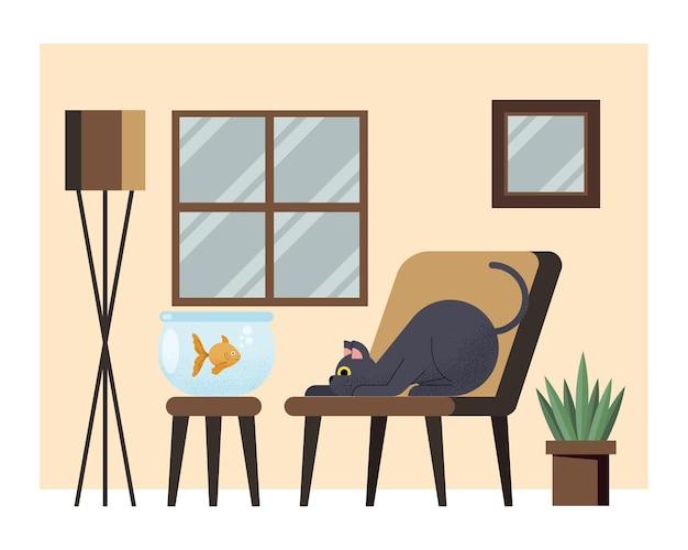 Chat et poisson dans la maison