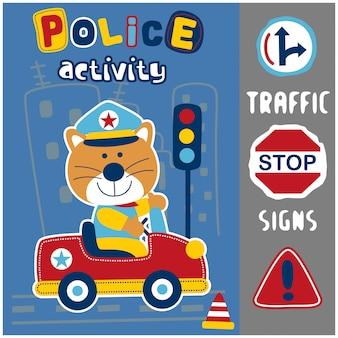 Chat la police dans la ville dessin animé drôle d'animaux, illustration