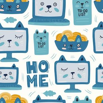 Chat portable bleu modèle sans couture