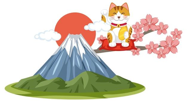Chat porte-bonheur japonais maneki neko avec le mont fuji