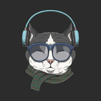 Chat porte illustration casque