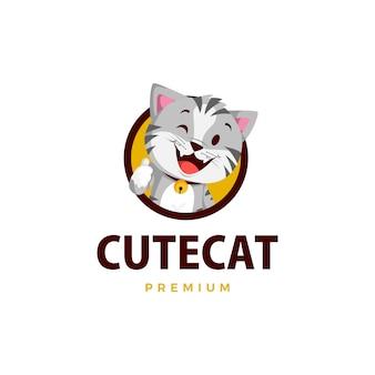 Chat pouce vers le haut mascotte caractère logo icône illustration