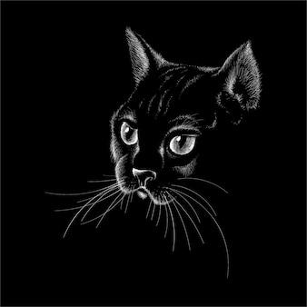 Chat pour la conception de tatouage ou de t-shirt ou des vêtements d'extérieur. chat de style mignon