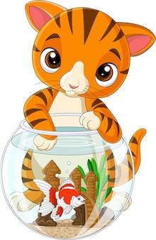 Chat rayé de dessin animé avec poisson rouge dans un bocal à poissons