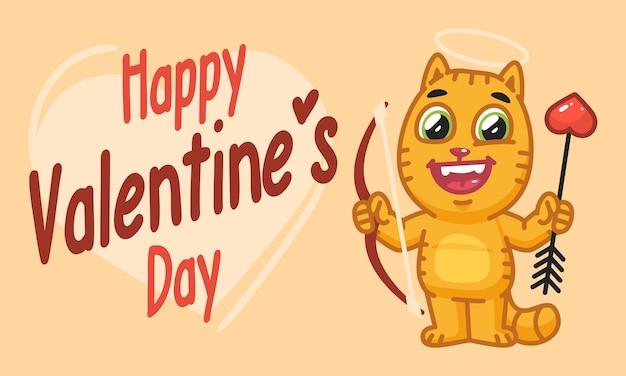 Le chat de la saint-valentin détient un arc et une flèche. illustration vectorielle. personnage de mascotte.