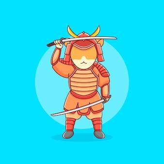 Chat samouraï en illustration design plat
