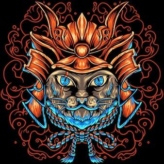 Le chat samouraï japon