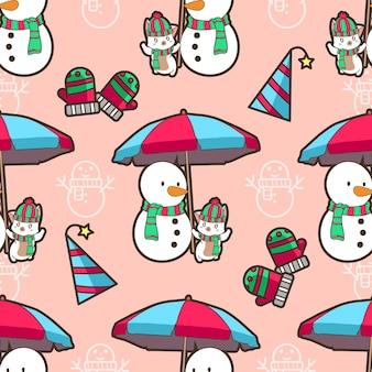 Chat sans couture et bonhomme de neige en motif de noël