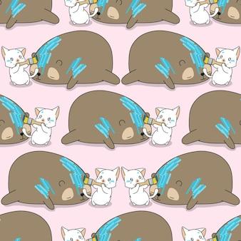 Le chat sans couture peint sur le modèle d'ours