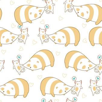 Le chat sans couture pince le motif de panda.