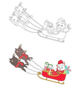Chat de santa dans un dessin animé de traîneau à colorier pour les enfants