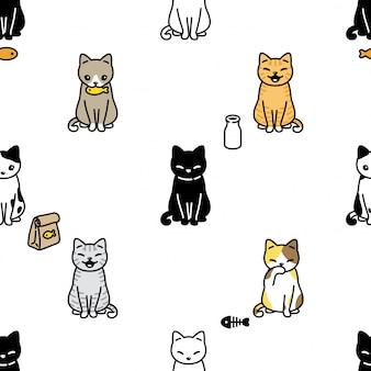Chat, seamless, modèle, chaton, calicot, nourriture, dessin animé, illustration
