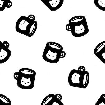 Chat, seamless, modèle, chaton, calicot, tasse à café, dessin animé, illustration