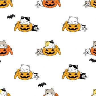 Chat, seamless, modèle, chaton, halloween, citrouille, chauve-souris, dessin animé, illustration
