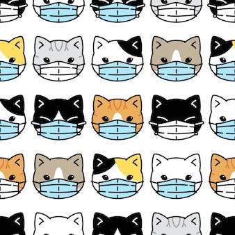 Chat, seamless, modèle, chaton, masque facial, covid-19, coronavirus, dessin animé