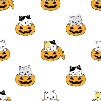 Chat, seamless, modèle, halloween, citrouille, chaton, dessin animé, illustration